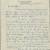 Letter from Thomas Ollive Mabbott